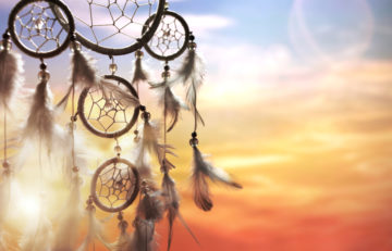 Dreamcatcher at sunset with copy space
